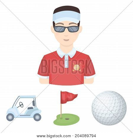 Field with a hole and a flag, a golf ball, a golfer, an electric golf cart.Golf club set collection icons in cartoon style vector symbol stock illustration .