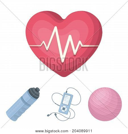 Player, a bottle of water and other equipment for training.Gym and workout set collection icons in cartoon style vector symbol stock illustration .