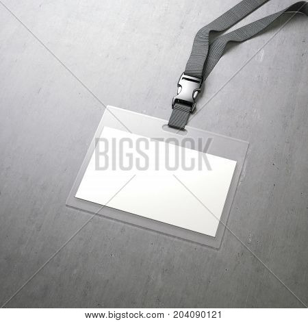 White horizontal badge with ribbon on a concrete floor. 3d rendering