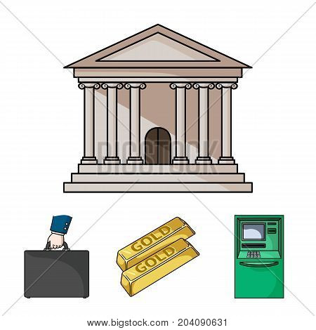 Gold bars, ATM, bank building, a case with money. Money and finance set collection icons in cartoon style vector symbol stock illustration .