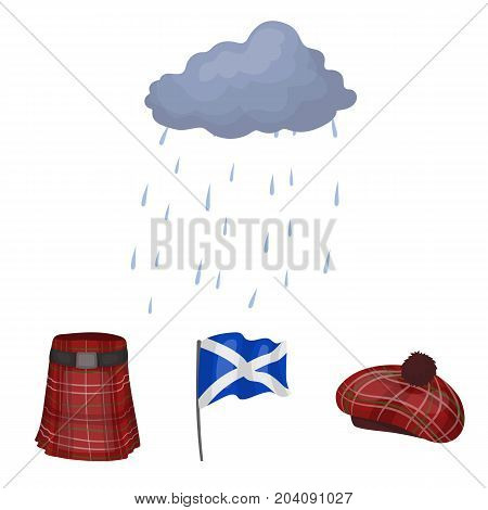 Flag, kilt, rainy weather, cap.Scotland country set collection icons in cartoon style vector symbol stock illustration .
