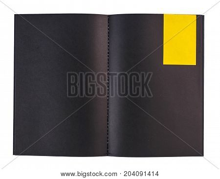 Blank Black Notebook And Colorful Notepaper