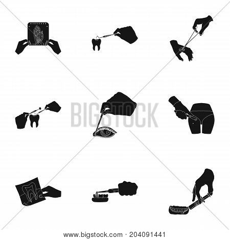 Anesthetic injection, examination of the tooth and other  icon in black style. wound treatment, vision check icons in set collection.