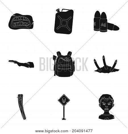 Apocalypse , killed, survival, and other  icon in black style.Terrible, genus, bullet, icons in set collection.
