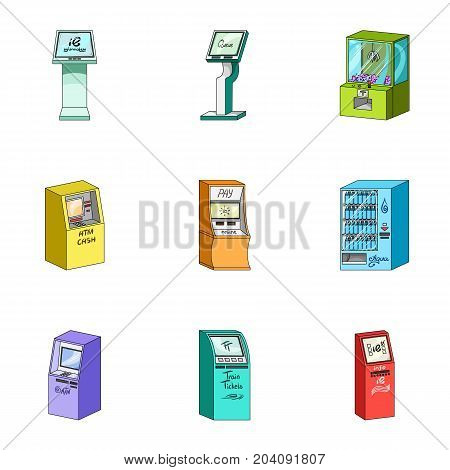 ATM, coffee machine, information apparatus and other types of terminals. Terminals set collection icons in cartoon style isometric vector symbol stock illustration .