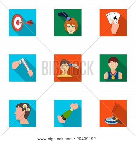 Darts, mirror with reflection, cigar in an ashtray, a bottle of champagne and other  icon in flat style. Combination of cards in hand, a bottle of wine and a glass, hair cutting, heeled shoes icons in set collection.