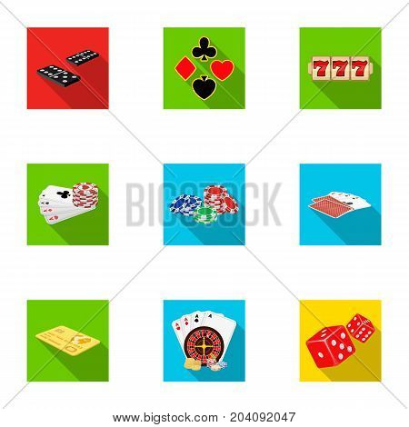 Hobby, entertainment, recreation and other  icon in flat style., Winning, excitement, casino, icons in set collection.