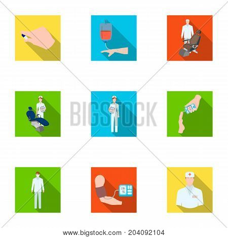 Injured in a stroller, blood transfusion, blood sugar test, doctor, medical staff. Medicine set collection icons in flat style vector symbol stock illustration .