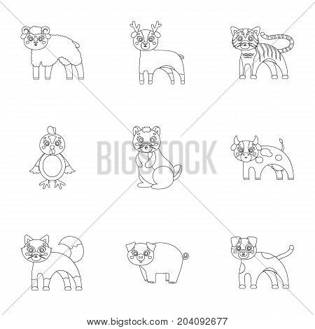 Zoo, toys, hunting and other  icon in outline style.Forest, nature, farm, icons in set collection.
