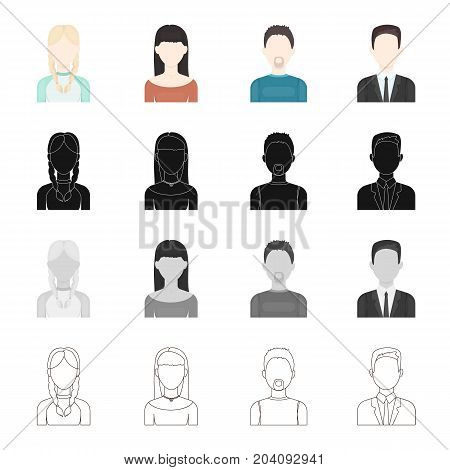 The face of a man with a mustache and beard, a girl with pigtails, the appearance of a businessman, a girl with a hair. Face and appearance set collection icons in cartoon black monochrome outline style vector symbol stock illustration .