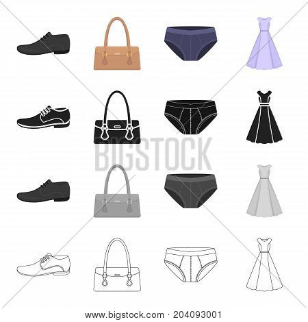 Clothing, dress, sarafan, accessories, ladies' bag, men's shoes, panties. Clothes and accessories set collection icons in cartoon black monochrome outline style vector symbol stock illustration .