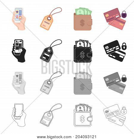 Phone in hand, product label, cash in purse for purchase, bank card for e-commerce. Sale and purchase, e-commerce set collection icons in cartoon black monochrome outline style vector symbol stock illustration .