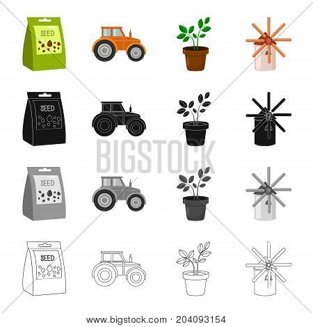 A package with seeds, a farm tractor, a potted plant, a windmill. Farm set collection icons in cartoon black monochrome outline style vector symbol stock illustration .