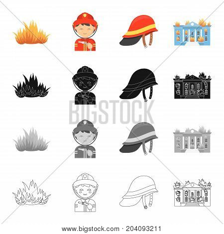 Fire, firemen in uniform, protective helmet, burning building. Fire Department set collection icons in cartoon black monochrome outline style vector symbol stock illustration .