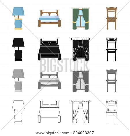 Table lamp, bed, bedroom furniture, window with curtains, wooden chair. Furniture set collection icons in cartoon black monochrome outline style vector symbol stock illustration .