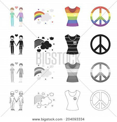 A pair of gays, a rainbow, a T-shirt, a sex minority, a rainbow sign of freedom. The sexual minority set collection icons in cartoon black monochrome outline style vector symbol stock illustration .