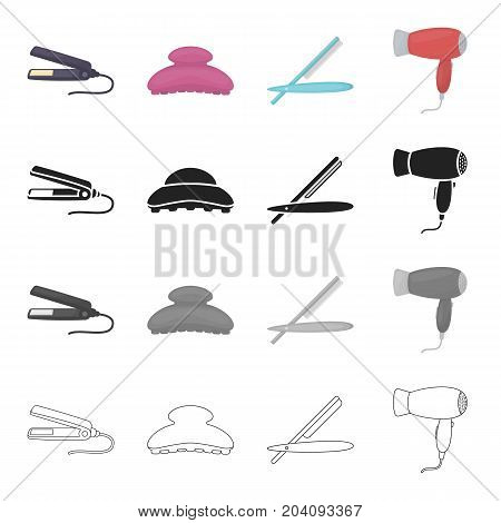 A hairdresser's tool, a hair straightener, a comb, astraight razor, an electric hair dryer. Hairdresser set collection icons in cartoon black monochrome outline style vector symbol stock illustration .