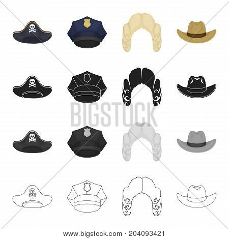A pirate's cocked hat, a police cap, a judge's wig, a cowboy. Hats set collection icons in cartoon black monochrome outline style vector symbol stock illustration .