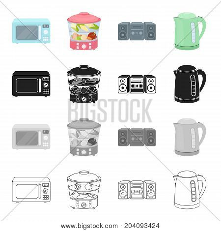 Microwave, household steamer, music center, electric kettle.Electric household appliances set collection icons in cartoon black monochrome outline style vector symbol stock illustration .