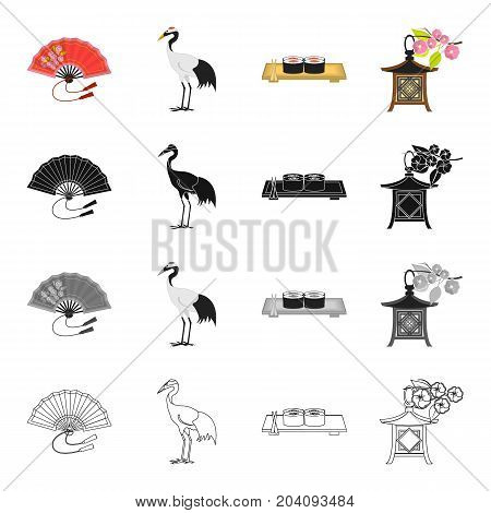 Fan, red-haired crane, Japanese sushi food, national lantern. Japan set collection icons in cartoon black monochrome outline style vector symbol stock illustration .