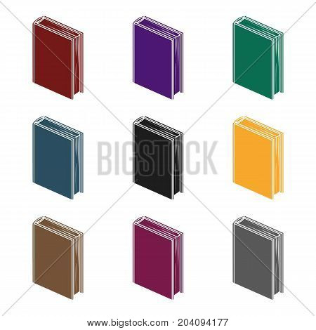 Purple standing book icon in black design isolated on white background. Books symbol stock vector illustration.