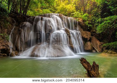 Huai Mae Khamin waterfall in deep forest Thailand