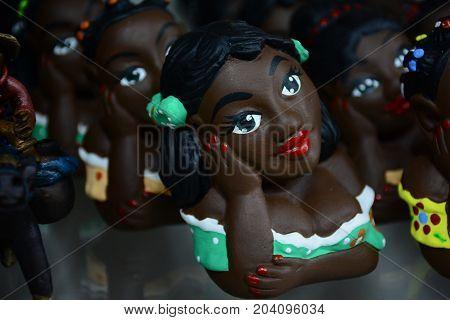 Traditional Brazilian Handicraft Clay Doll Made In Ouro Preto.