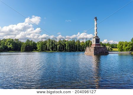 ST.PETERSBURG/RUSSIA - JULY 26, 2017. The Chesme Column in the Catherine Park of Tsarskoe Selo is a monument that symbolizes the power and glory of the Russian fleet.