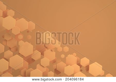 Orange Hexagons Of Random Size On Orange Background