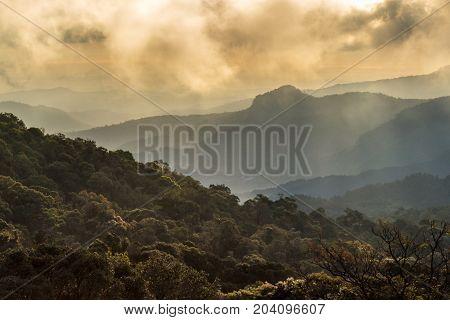 Scenic views of Inthanon Mountain at Kew Mae Pan Nature Trail Chiang Mai Province Thailand