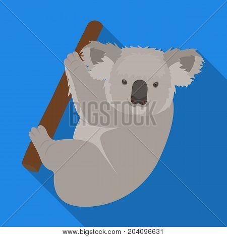 Kuala, marsupial bear on a branch of eucalyptus. Wild mammal of koala single icon in flat style vector symbol stock illustration .