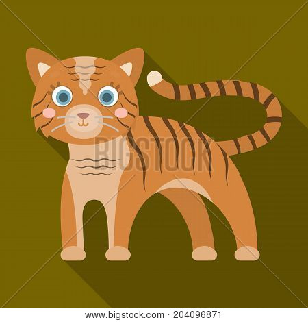 Tiger, single icon in flat style.Tiger, vector symbol stock illustration .