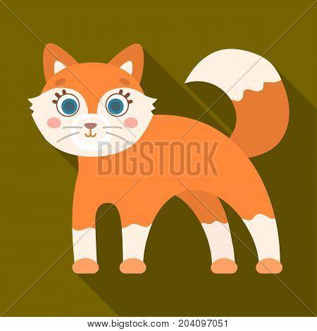 Fox, single icon in flat style.Fox, vector symbol stock illustration .