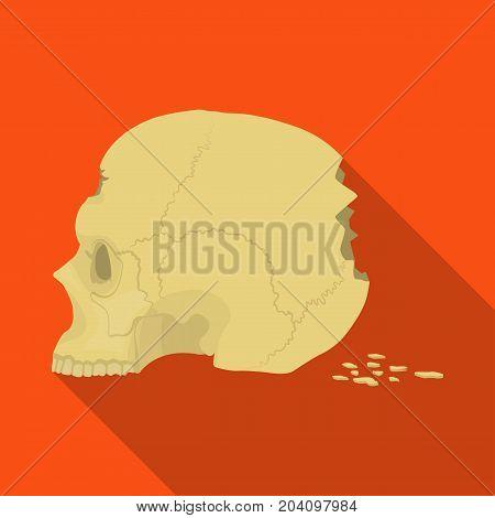 Skull single icon in flat style.Skull, vector symbol stock illustration .
