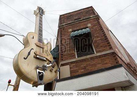 June 2 2016 Memphis Tenessee: a guitar statue installed on the Sam Phillips Avenue in the front of Sun studios