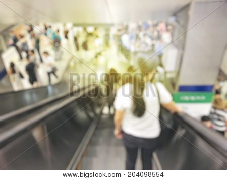 Blurred Image Of Business People, Workers, Many People Left The Train And Go To Work In The Rush Hou