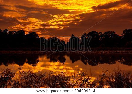 Sky And Rays Of Sunlight With Sun Reflections Above Silhouettes Of Trees And Lake.