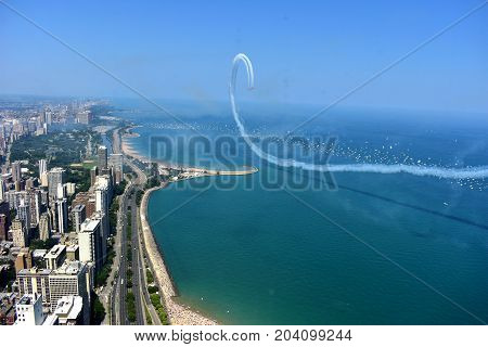 Chicago, Illinois - Usa - August 19, 2017: Chicago Air Show 2017