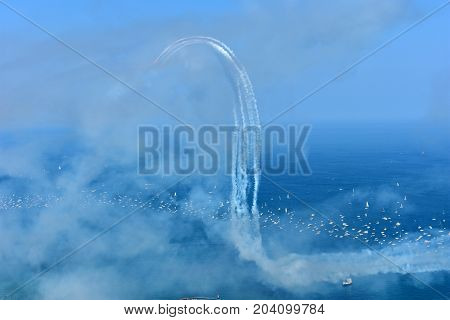 Chicago, Illinois - Usa - August 19, 2017: Chicago Air Show On The Lake Front