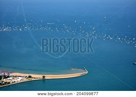 Chicago, Illinois - Usa - August 19, 2017: North Avenue Beach Chicago Air And Water Show