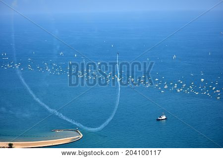 Chicago, Illinois - Usa - August 19, 2017: Aircraft Performing Maneuvers Over North Ave. Beach