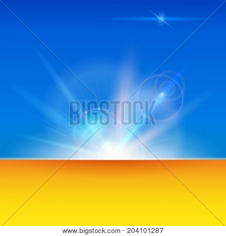 Blurred light rays and lens flare backdrop with copy space. Glow light effect. Star burst with sparkles. Abstract space background. Dynamic digital, technology backdrop. Vector 3D illustration.