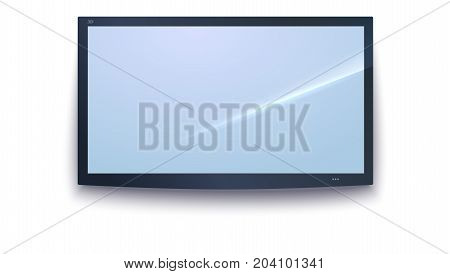 Smart TV icon, dark TV screen, LED TV hanging, isolated on the white background. Widescreen monitor, template, mock-up. 3D illustration