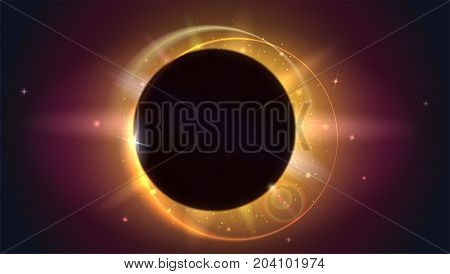 Glow light effect. The planet covering the Sun in eclipse, Moon passes between planet Earth and Sun. Solar eclipse, astronomical phenomenon - full sun eclipse. Light rays and lens flare backdrop.
