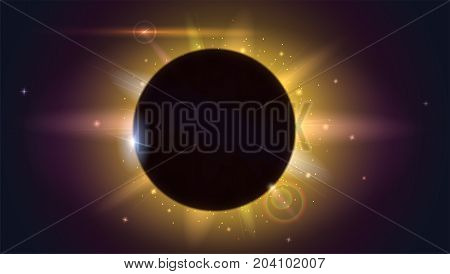 Glow light effect. Star burst with sparkles. Solar eclipse, astronomical phenomenon - full sun eclipse. Light rays and lens flare horizontal backdrop. The planet covering the Sun in eclipse