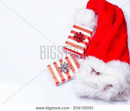 Christmas santa hat on the white background