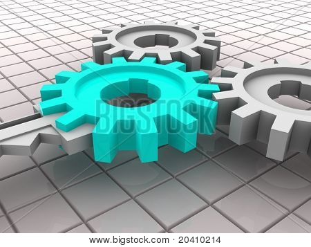 Key and gear. 3d