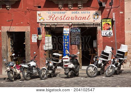 November 22 2014 San Miguel de Allende Mexico: one of the many small restaurants popular with locals and tourists in the colonial town