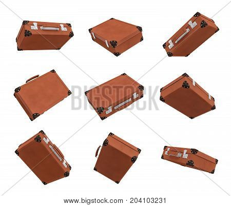 3d rendering of many brown vintage suitcases in closed state hanging on white background in different angles. Traveling baggage. Business case. Travel in style.