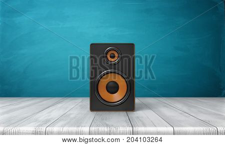 3d rendering of a one black speaker box with orange trim standing on a wooden table in front of a blue background. Sound equipment. Party music. Home sound appliances.